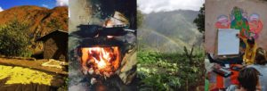 Image shows a mountain coffee harvest, clay wood stove, parmaculture garden, Andrew Jones giving a permaculture class to volunteer workers