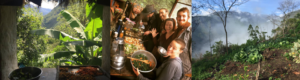 Image shows sacred plant retreat service team feasting after ayahuasca and huachama ceremonies are complete, ceremony temple, permaculture kitchen and garden at Paititi