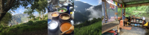 Image shows permaculture garden, organic home cooked meal, community ceremony temple space and view from the top of our ayahuasca center mountain top