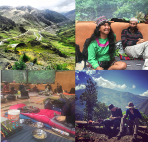 Image shows the Peruvian Andes on the way to the ayahuasca and huachuma centre, a shipibo elder healer with Roman, a sharing circle after ayahuasca ceremony